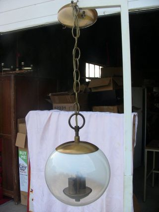 Mid - Century Modern Arts & Crafts Spherical Hanging 2 - Light Chain Pendant Fixture photo