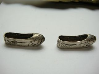 Miniature Custom Made Sterling Silver Tested Shoes. photo