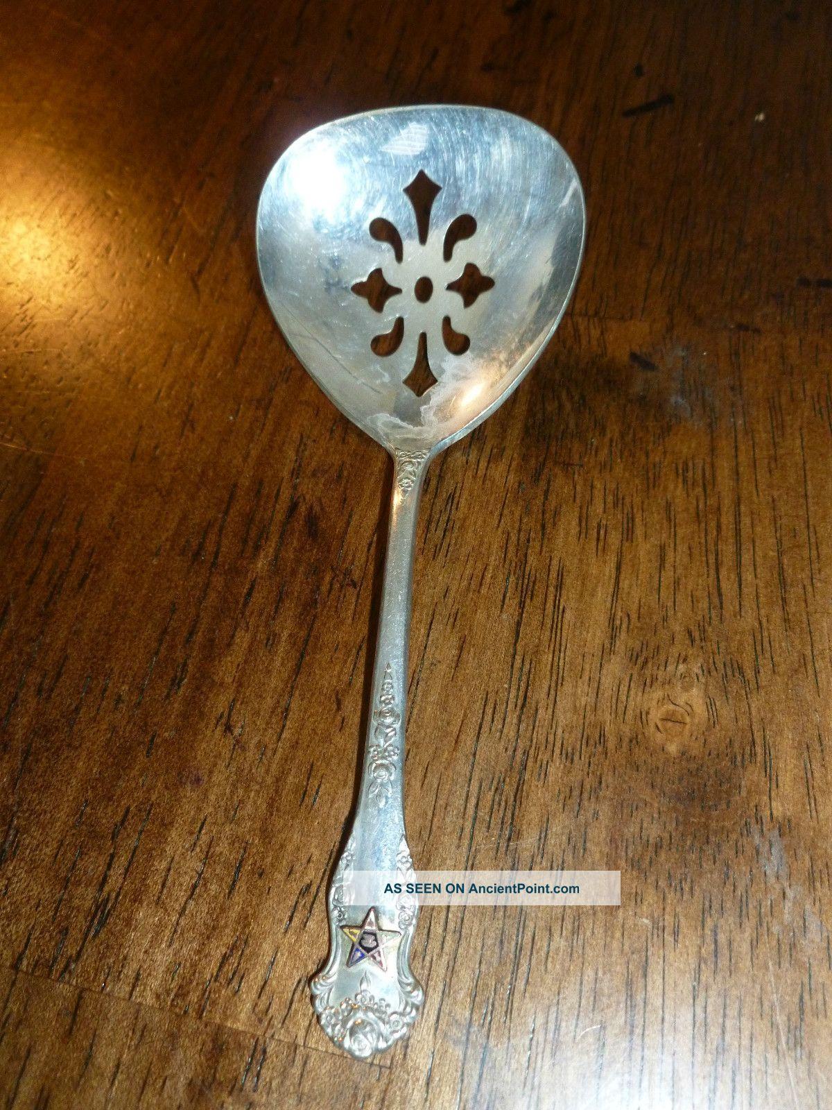 King Edward Silverplate - Holiday Pattern - Bon Bon Spoon - Masonic Star Emblem National photo
