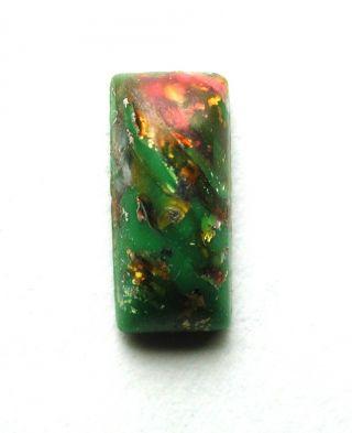 Antique Leo Popper Glass Button Green Bar W/ Red & Silver photo