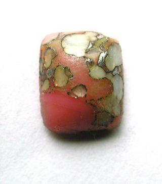 Antique Leo Popper Glass Button Pink Rectangle W/ White & Silver photo