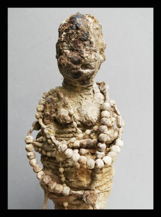 A Deeply Encrusted Janus Power Figure With Seeds+crosses,  Ewe Tribe Of Ghana photo