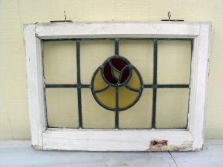 Antique Victorian Rose Stained Glass Stainedglass Leaded Window Red Yellow Clear photo