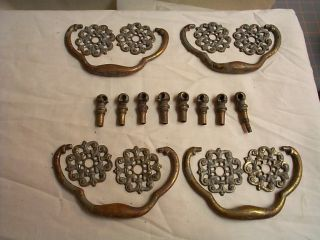 Set Of 4 Cast Brass Victorian Drawer Pulls Circa 1870 Antiques photo