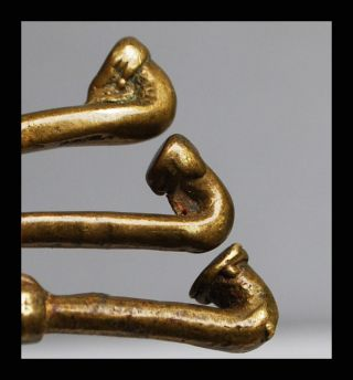 Set Of 3 Pipe 18thc Akan Gold Weights Ex European Collectn photo