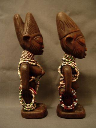 10,  Ibeji Male & Female Pair With Multi Color Beads,  Yoruba / Santeria photo