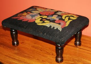 Antique Wooden Foot Stool With Folksy Needlepoint Cushion; Vintage Footstool photo