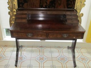 Antique Baker Furniture Desk Secretary With Leather Top photo