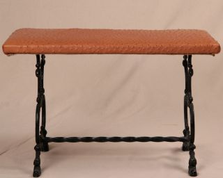 Wrought Iron Antique Victorian Leather Window Bench Stool Footstool 20th Century photo