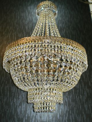Vintage 20 ' Large Antique Brass Crystal Chandelier Lighting Unique French 70s photo