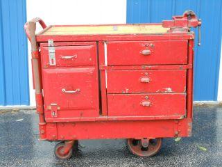 Antique Workbench Cart,  Industrial Chic,  Steampunk photo