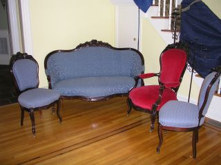 Spectacular American Victorian 4 Piece Rosewood Living Room Matching Set photo