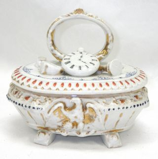 Antique Porcelain Victorian Era Trinket Dresser Box Staffordshire Oval Jar photo