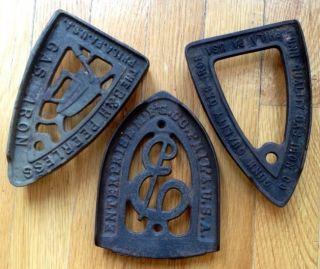 Nr Antique Cast Iron: 3 Trivet,  Sad/gas Iron Advertising,  Philadelphia,  Pa photo