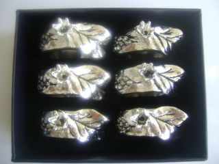 6 Pieces Napkin Rings Silver Plated Pomegranate Style With 925 Mark photo