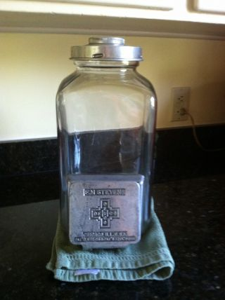 Extremely Rare Antique Large Counter Top Candy Dispensing Jar 1924 photo