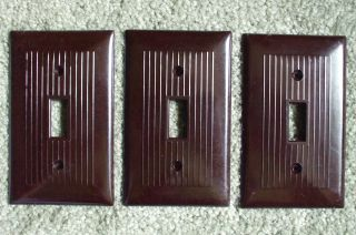 3 Vintage Brown Ribbed Wall Plate Switch Plates: 1 Snapit,  2 Unknown Brand photo