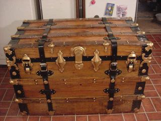 Refinished Flat Top Victorian Steamer Trunk Antique Chest W/straps,  Key,  & Tray photo