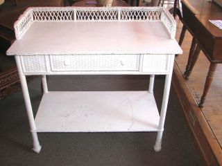 Heywood Wakefield White Wicker Stand With Drawer photo