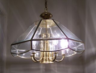 Solid Brass Beveled Glass Chandelier 1990 - 2000s Pendent Quality Light Fixture photo