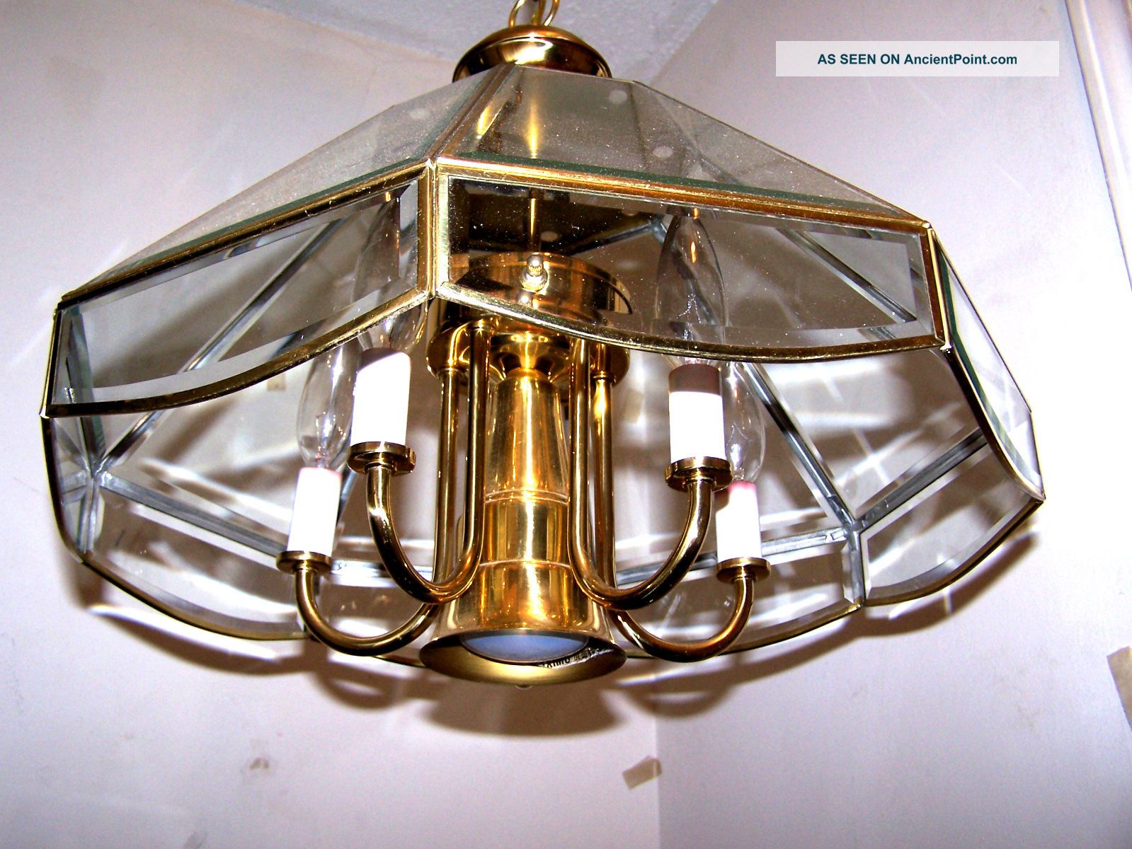 Similiar 6 Light Pendant Light Fixture With Beveled Glass Keywords – Brass and Glass Chandelier