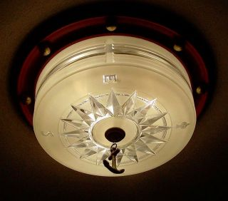 ((lightolier))  Rare Vintage Ceiling Lamp Light Fixture Maritime Nautical photo