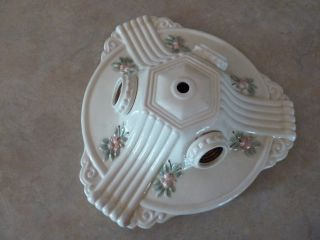 Vintage 3 Light Porcelier Art Deco Porcelain Chandelier Ceiling Light Fixture photo