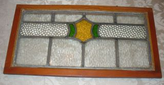 Vintage Leaded Stained Glass Window Green,  Yellow & Clear Textured Glass photo