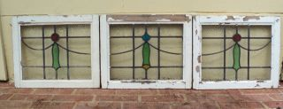 Antique Stained Glass Stainedglass Leaded Windows 3 Piece Set Transom Colorful photo