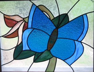 Butterfly Stain - Glass Work Of Art Large Approx.  34