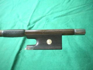 Old German Violin Bow Ebony/silver Frog Round Pernambuco 1890 - 1920 photo