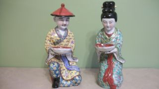 2 Antique Chinese Famille Rose Porcelain Man And Woman Kneeling Statues photo