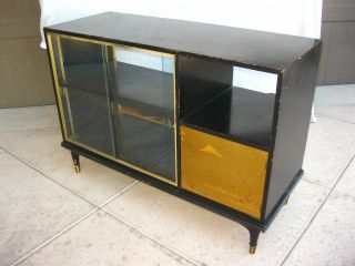 Hollywood Regency Black Double Sided Display Cabinet Bookshelf Mid Century Asian photo