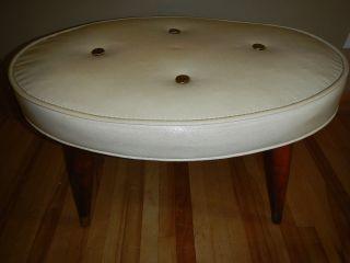 Vtg 60 ' S Cream Brass Tip Vinyl Footstool Ottoman Oval Fancy Topped Bench Stool photo