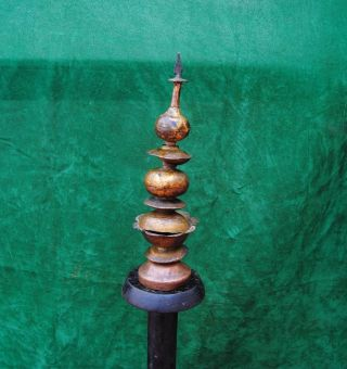 Antique Islamic Monumental Ottoman Gilt - Copper (tombak) Finial Standard photo