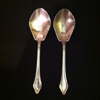 2 Large Antique Gorham Sterling Silver Serving Spoons Clermont Pattern 1915 photo