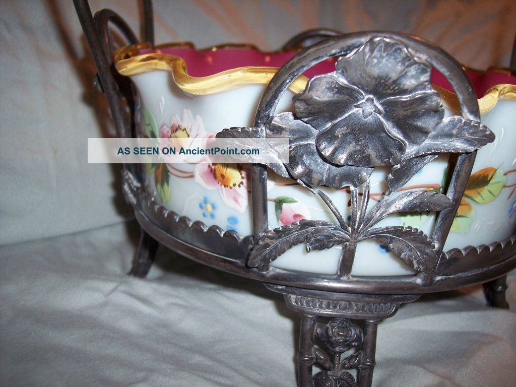 Reed & Barton Silver Peach Blow Art Glass Brides Basket Cased & H.  P.  Enameling Baskets photo