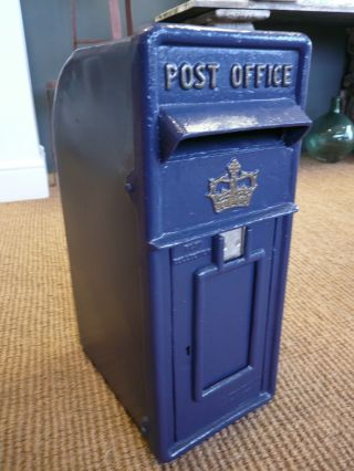 Cast Iron Post Box In Scottish Blue In Royal Mail Style photo