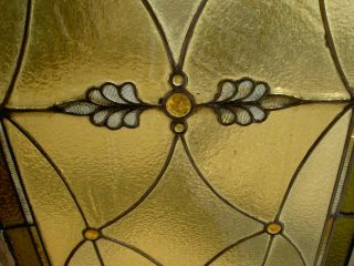 Antique Stained Glass Transom Window With 15 Jewels Estate 59 photo