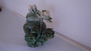 Quality Chinese Old Carved Flowers Jade Jadeite Vase Urn photo