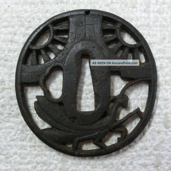 G257: Real Old Japanese Samurai Iron Sword Guard Tsuba With Wheel And Mantis Tsuba photo