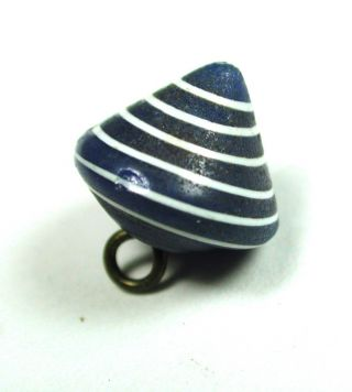 Antique Charmstring Glass Button Blue W/ White Spiral Cone Shape Swirl Back photo
