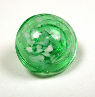 Antique Paperweight Glass Button White Flecks Over Green Design Swirl Back photo