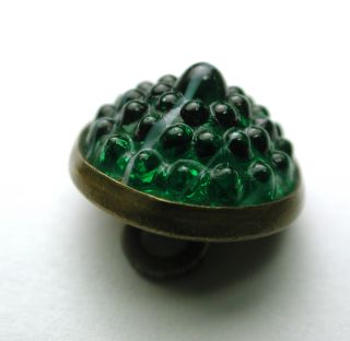 Antique Glass In Metal Button Green Berry Mold In A Brass Back photo