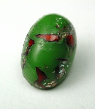 Antique Leo Popper Glass Button Green Oval With Red & Silver photo