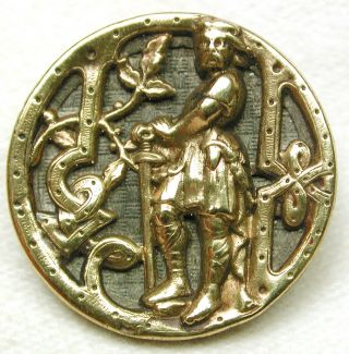 Antique Brass Picture Button King Arthur With Excalibur Paris Back photo