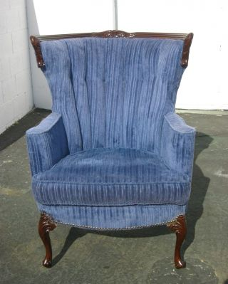 Vintage French Royal Blue Velvet Accent Chair Wingback Carved Mid - Century Modern photo