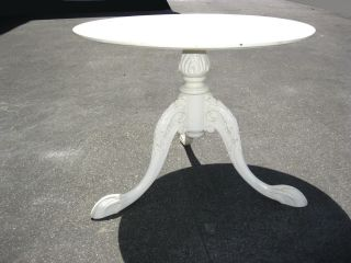 Vintage White French Provincial Style Pedestal Key Table Carved And Claw Feet photo