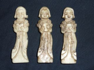 3 Rare 19th Cen Antique Chinese Finely Carved Jadeite Jade Lady Figurines photo