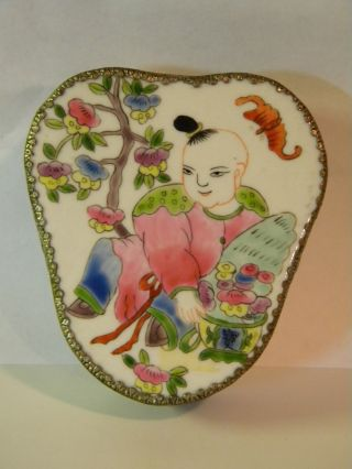 Vintage Chinese Enamel Trinket Box photo